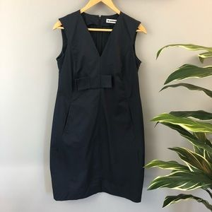Jil Sander Navy Blue Cocktail Dress with Bow. 38